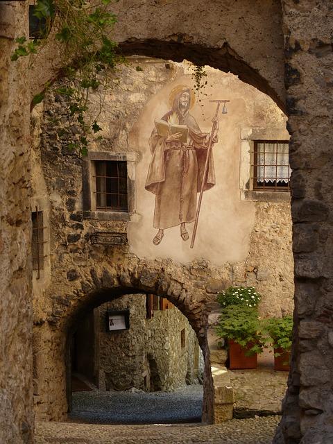 Free alley archways passage road medieval village
