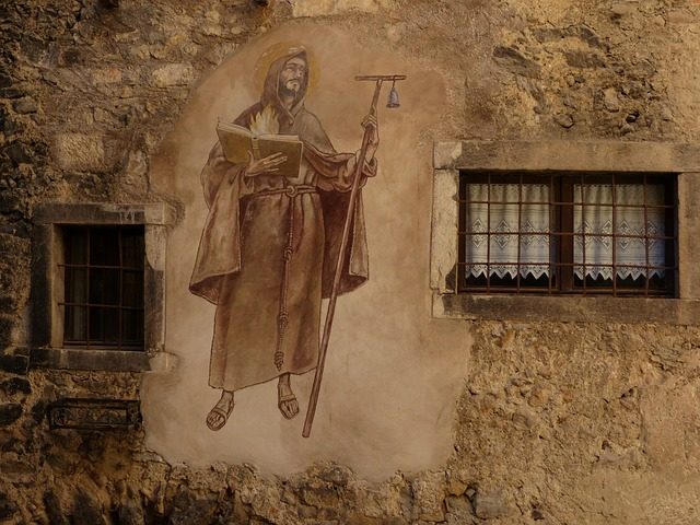 Free mural painting monch middle ages medieval village