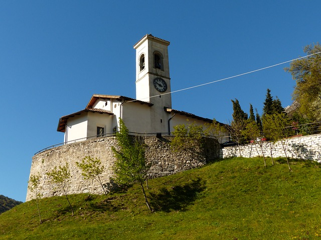 Free church steeple pregasina village garda