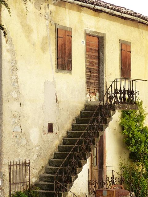 Free stairs gradually external staircase facade home