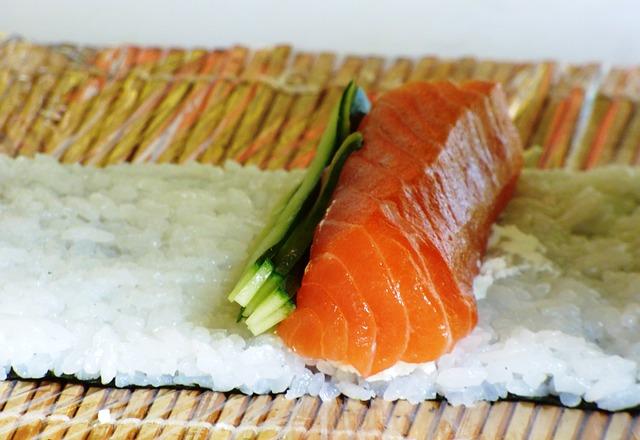 Free eating sushi food health rice sesame salmon fish