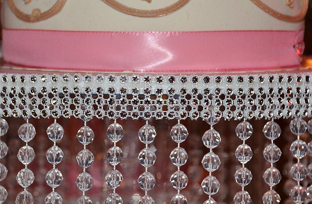 Free curtain drape folds salmon colored crystal beads