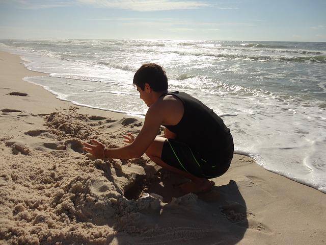 Free seashore california vacation beach boy sand play