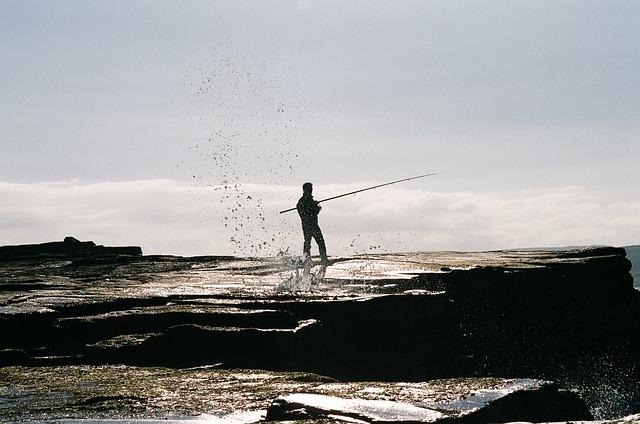 Free fisherman fishing fishing rod coast