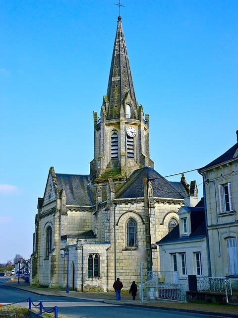 Free church bell tower region france sky blue