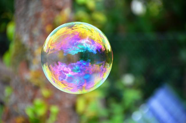 Free soap bubble floats color iridescent