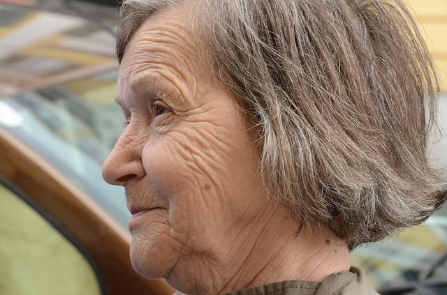 Free woman way satisfied old fold grey hair