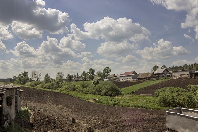 Free village vegetable garden cloudy summer heat plowed