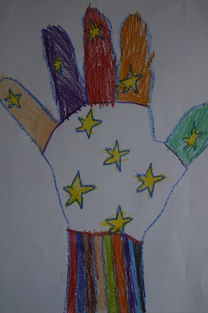 Free hand handprint child children kindergarten