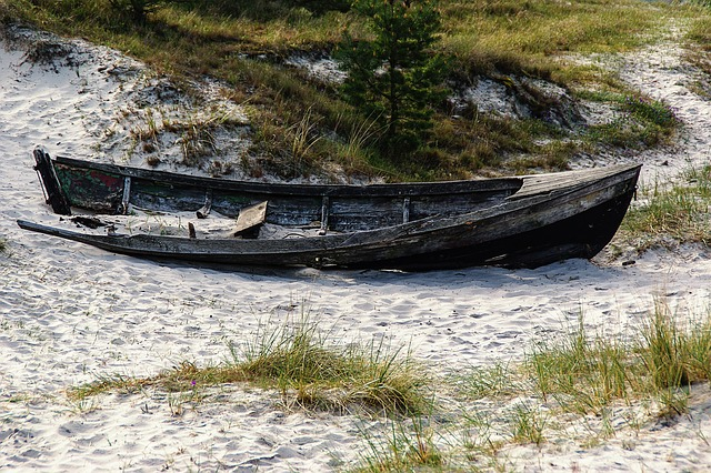 Free baltic sea wooden boat weathered wreck beach dune