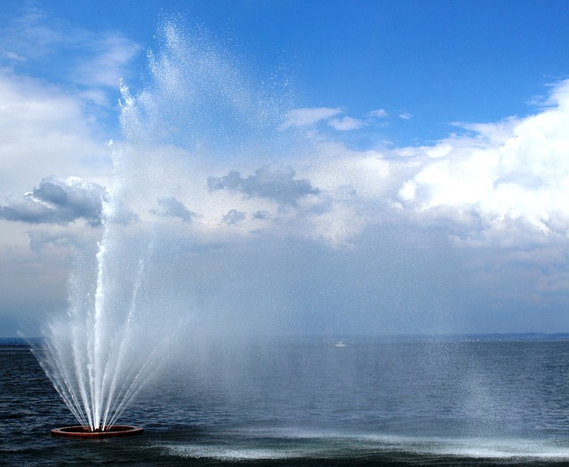Free fountain water feature mood water clouds sky wind