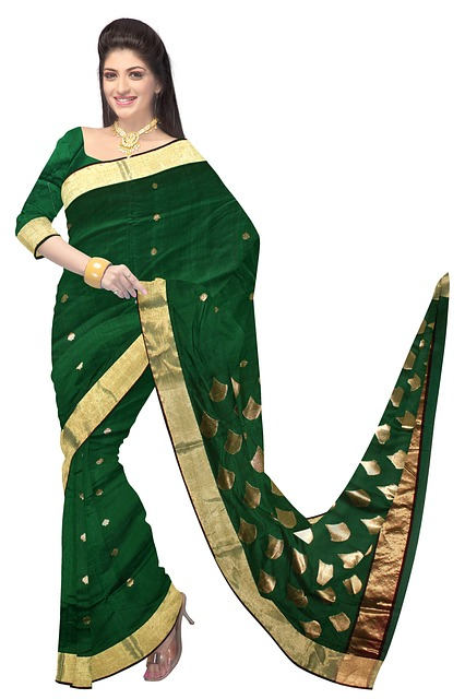 Free woman sari green saree fashion silk dress model