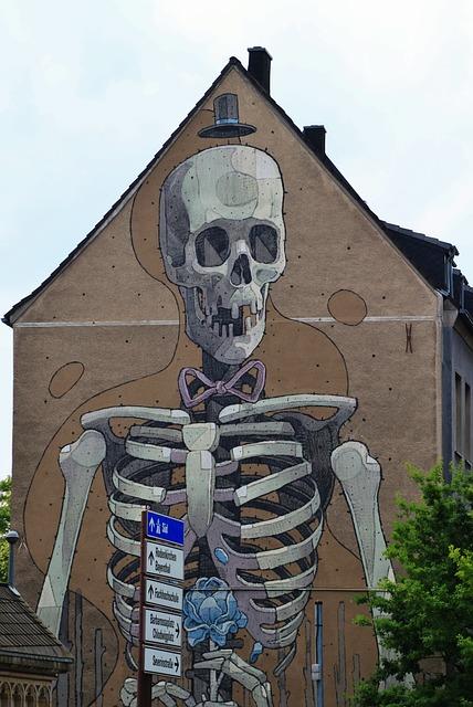 Free skeleton frame bone skull and crossbones hauswand