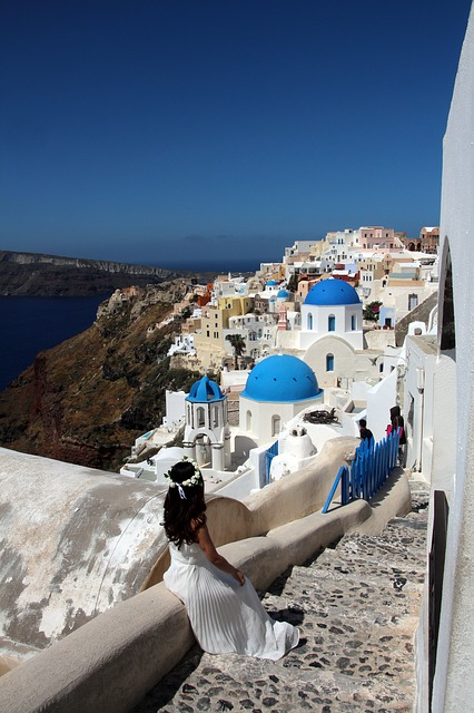 Free santorini sea greece stairs home white island