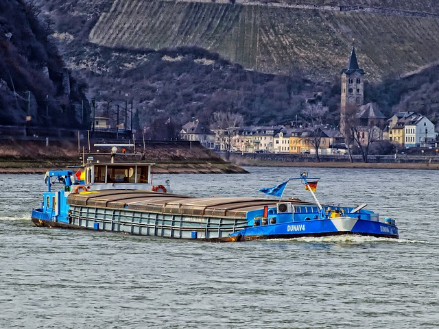 Free rhine river germany ship barge boat mountains