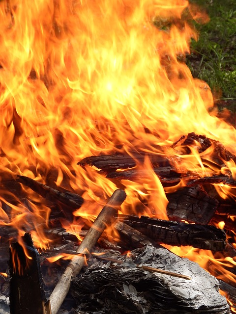 Free fire red wood flames outside outdoor garden
