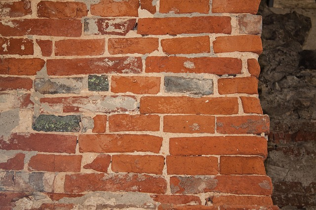 Free wall brick old hard whitish red bricked fund