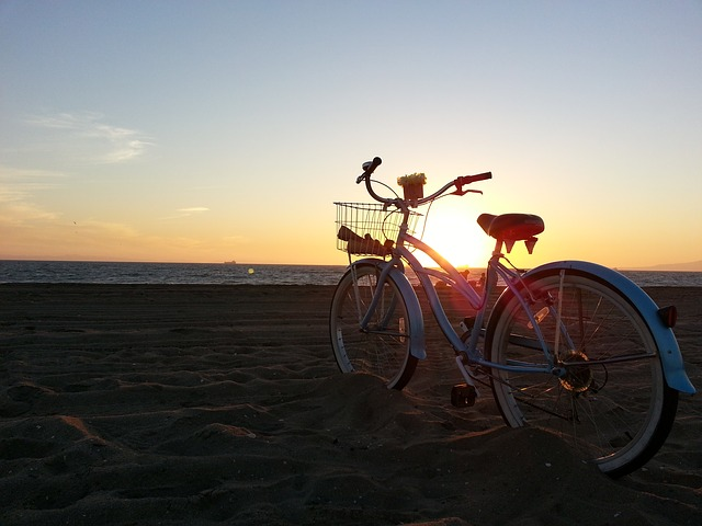 Free sunset beach bike ride nature landscape sun