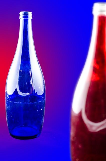 Free glass blue red color glass bottles bottle