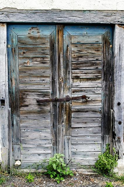 Free door weathered old garden shed lock building