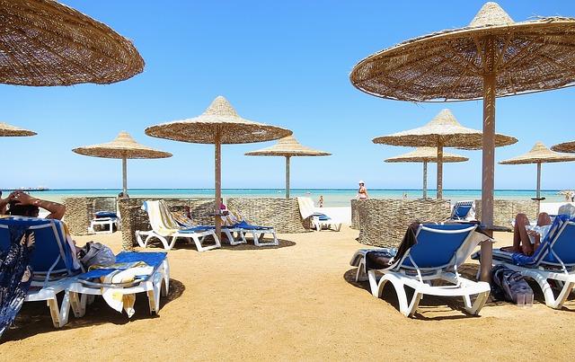 Free beach sand beach parasols sun lounger sun loungers