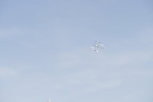 Free sky blue soap bubble fly float weightless