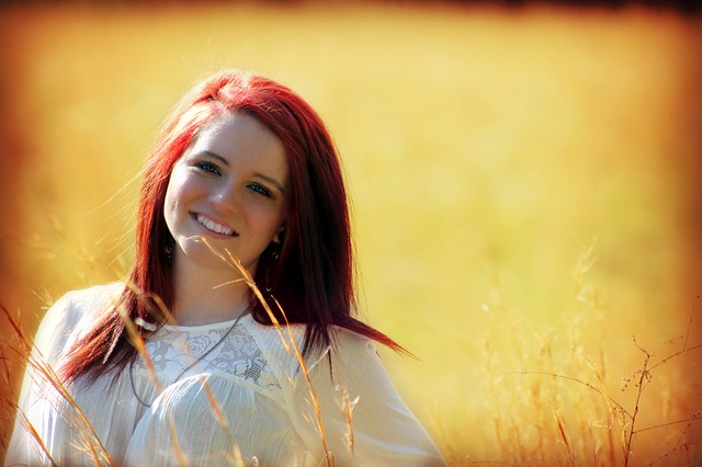 Free                girl outdoors smiling happy outside red hair