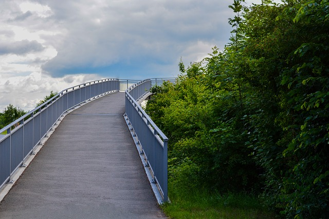 Free bridge sky clouds bushes green blue away