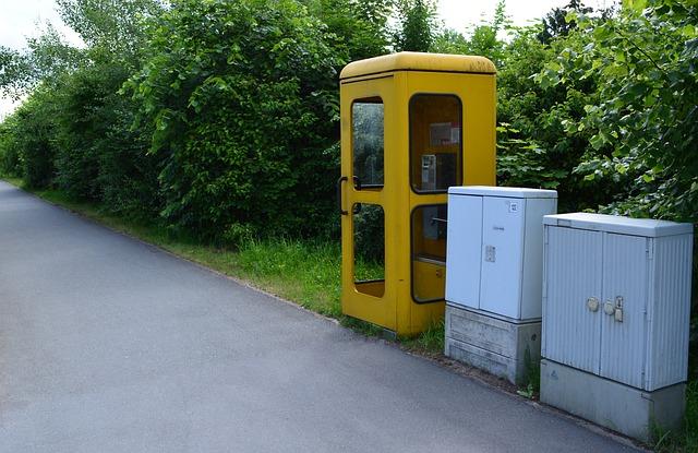 Free yellow phone phone booth emergency telekom post