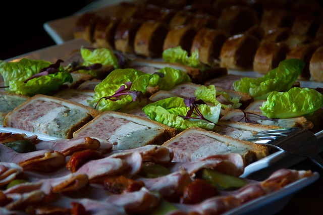 Free buffet food dinner food platter meat salad