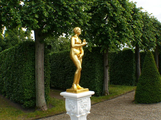 Free statue gold gilded roman fig stone stone figures