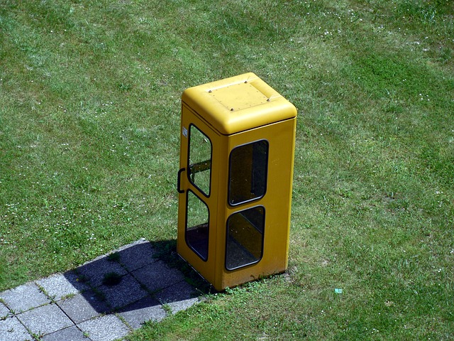 Free phone booth dispensary phone telephone old yellow