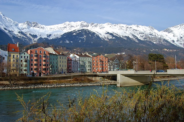 Free innsbruck mountains homes city river bridge sky