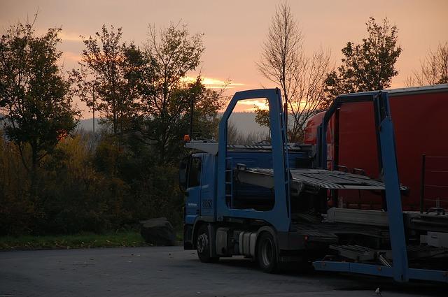 Free raststätte truck morgenstimmung highway sunrise