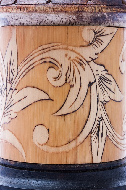 Free vessel bamboo painted decorative old craft