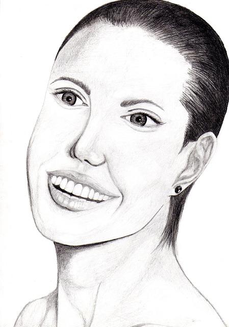 Free angelina jolie drawing art