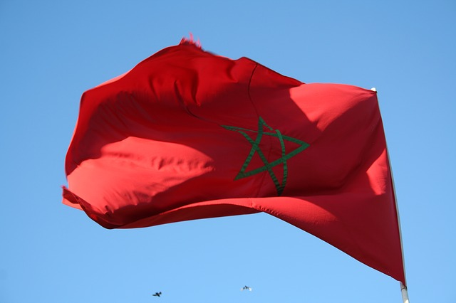 Free flag red morocco blow flutter star wind