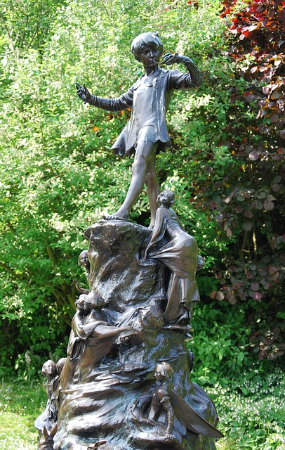 Free peter pan story character statue bronze