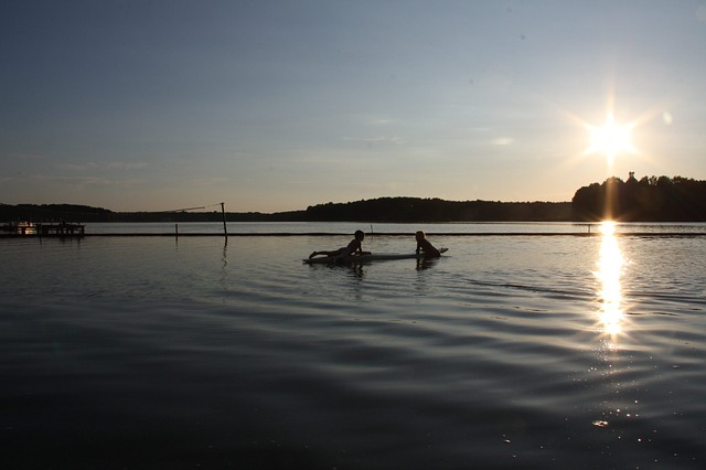 Free lake kayaks landscape reflection nature