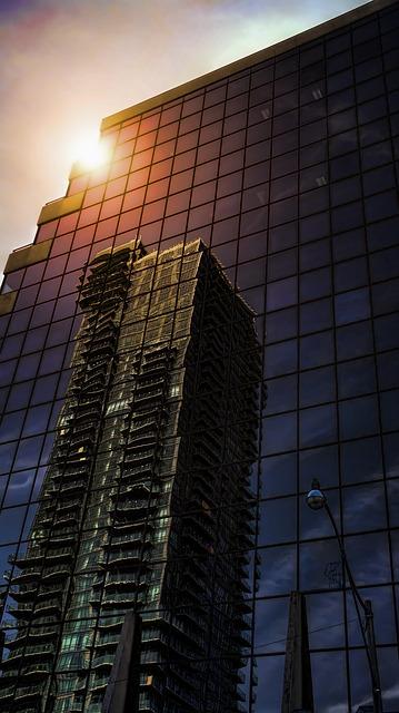 Free skyscraper architecture reflexion toronto sunset