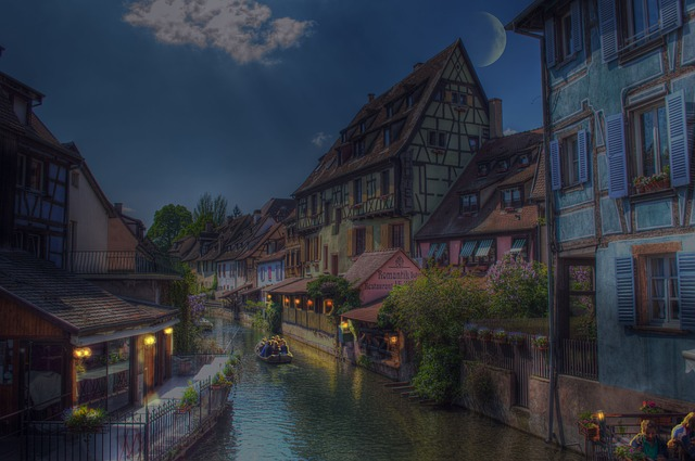 Free colmar alsace france night picturesque