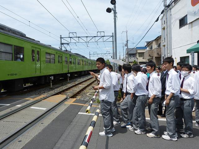 Free japanese boys students waiting uniform halt