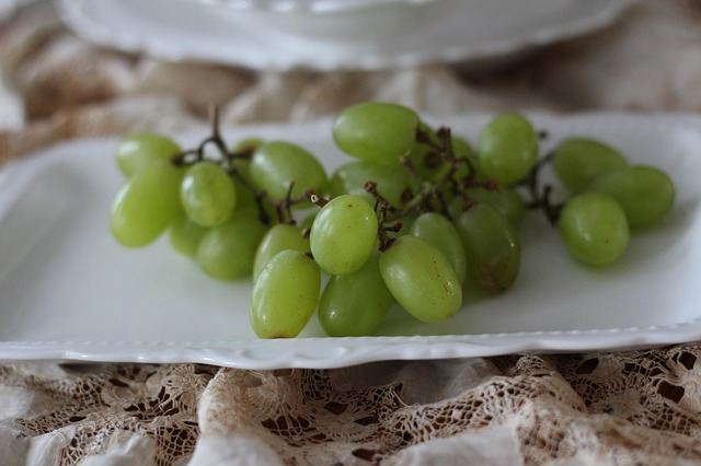 Free grapes fruit green closeup green fruit white china