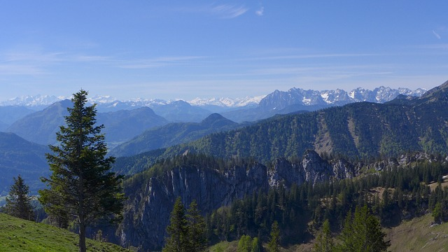 Free high mountains alpine panorama good view blautöne