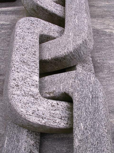 Free granite chain stone grey art sculpture monument