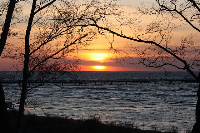 Free sunset beach evening sky sun sunset clouds lubmin