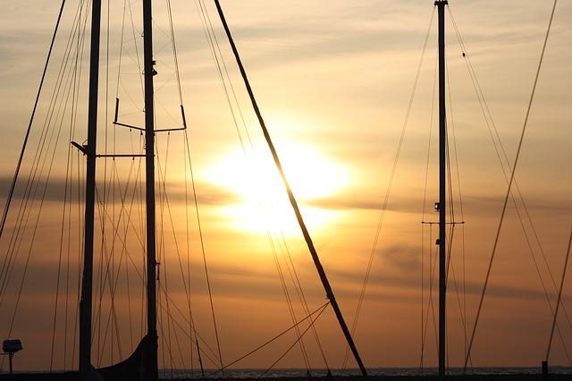 Free sailing boat boat mast sea sunset lubmin