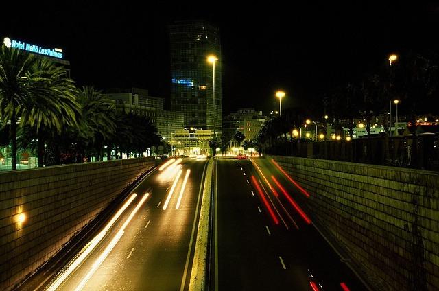 Free lights city night animation bus bridge