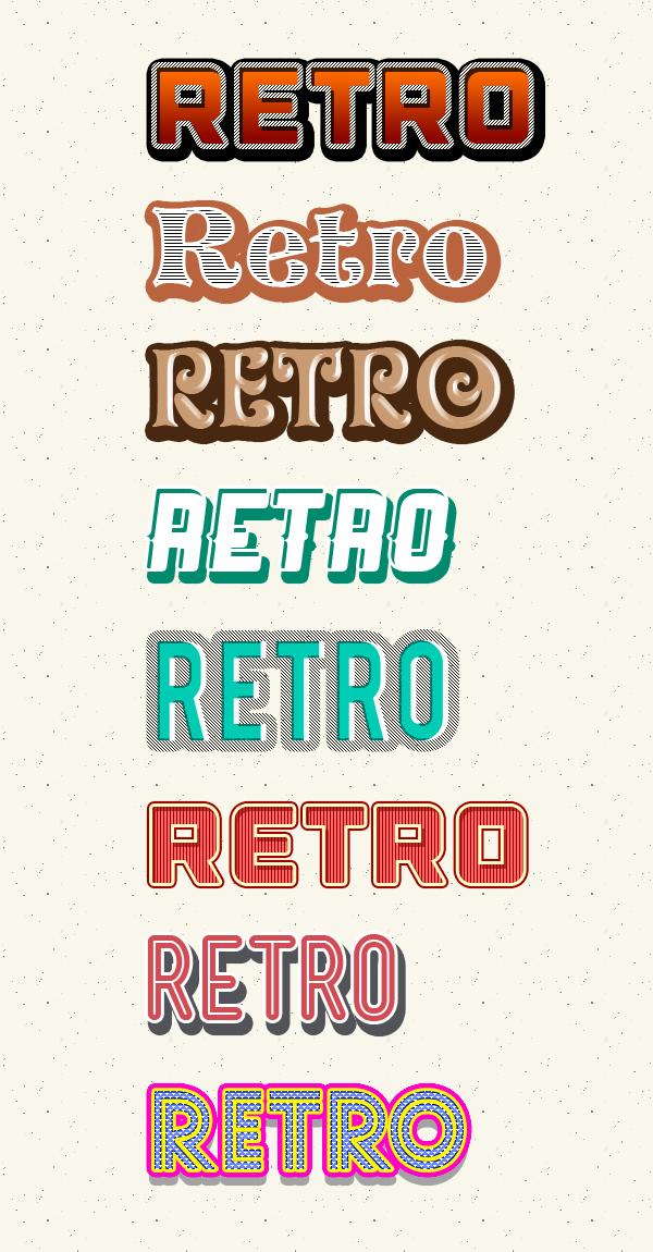 Free Styles: Photoshop retro text styles | Rafi