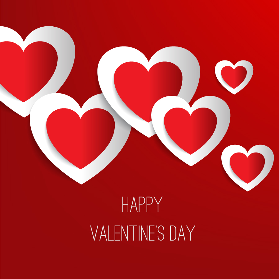 Free Vectors: Valentine's day vector illustration with paper hearts | Valentine | 1001FreeDownloads.com